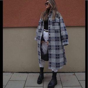 H&M Coat Long Shacket Check Oversize Wool